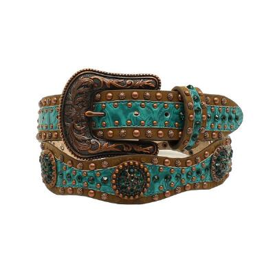 Ariat Vintage Turquoise Floral Tooled Ladies Belt