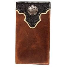 Ariat Mens Brown Leather Wallet with  Black Tooled Overlay