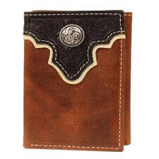 Ariat Trifold Mens Brown Wallet Dark Brown Tooled Overlay - TB