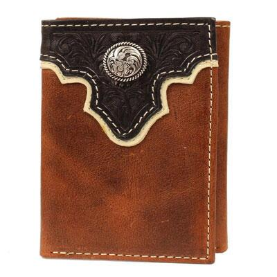Ariat Trifold Mens Brown Wallet Dark Brown Tooled Overlay