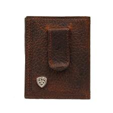 Ariat Shield Clip Bifold Rowdy Brown Mens Wallet - TB