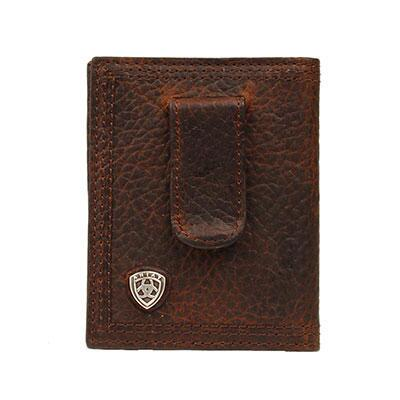 Ariat Shield Clip Bifold Rowdy Brown Mens Wallet