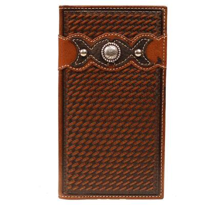 Ariat Rodeo Basketweave Mens Leather Wallet
