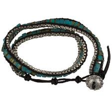 Turquoise Black Leather Wrap Bracelet