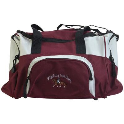 Small Sport Duffle Bag with Text and Small Logo