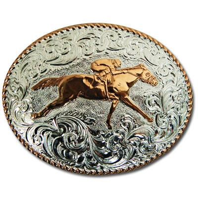 Crumrine Race Horse Oval Belt Buckle