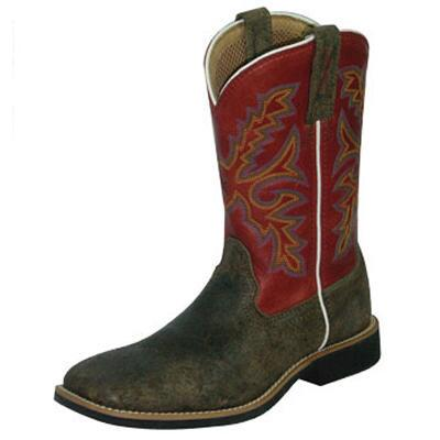 Twisted X Top Hand Kids Western Boot Distressed With Red