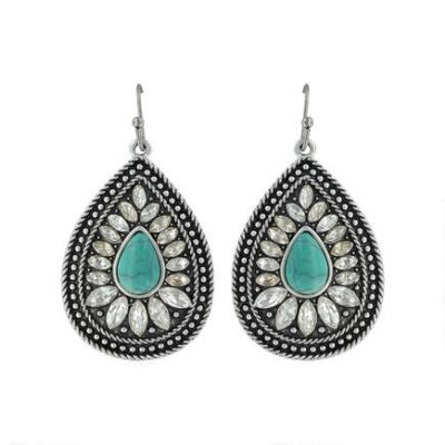 Rock47 Bohemian Beauty Turquoise Raindrop Earrings