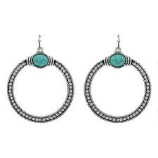 Rock47 Rock and Rolls Turquoise Pebble Rhinestone Earrings - TB