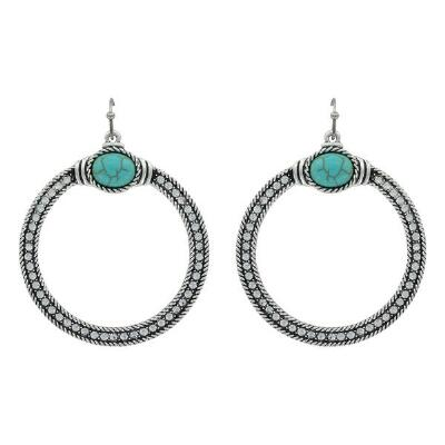 Rock47 Rock and Rolls Turquoise Pebble Rhinestone Earrings