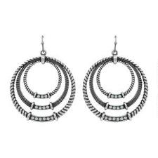 Rock47 Outlaw Rider Triple Roped Circle Earrings - TB