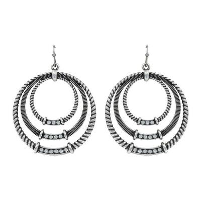 Rock47 Outlaw Rider Triple Roped Circle Earrings