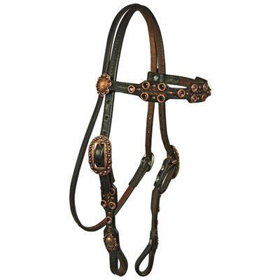 Double J Pozzi Pro Vintage Scalloped Browband Headstall
