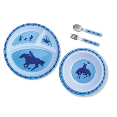 Blue Cowboys And Barbwire Kids Dinnerware Set