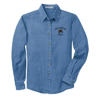 Ladies Denim Shirt Left Chest Embroidered
