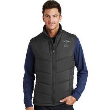 Mens Puffy Vest with Custom Left Chest Embroidery - TB