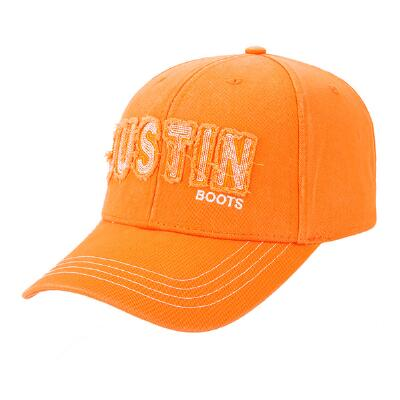 Justin Boots Orange and White Rustic Applique Baseball Cap