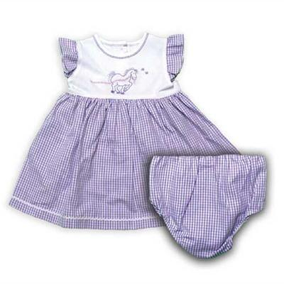 Infant-Toddler Horse and Flower Gingham Dress