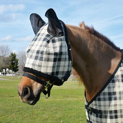 Fly Mask Black Tan Plaid Mesh