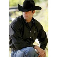 Solid Button Down Mens Western Shirt - TB
