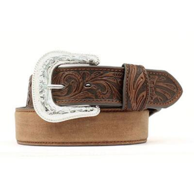 Nocona Saddle Tooled End Mens Belt