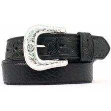 Nocona Western Tooled Tabs Black Mens Belt - TB