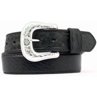 Nocona Western Tooled Tabs Black Mens Belt