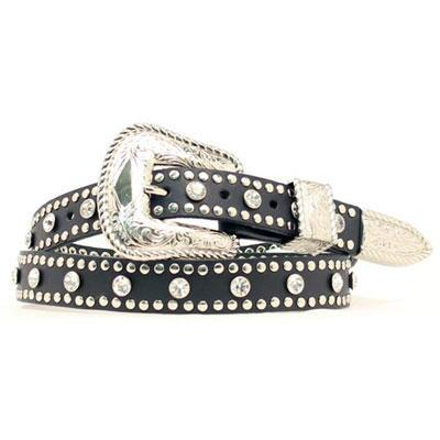 Belt Ladies Black Studded Crystal Rhinestones