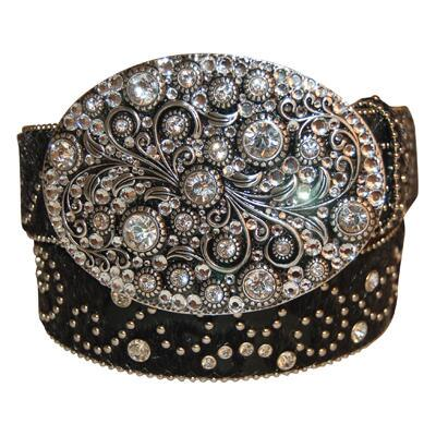Black Rhinestone Swirl Ladies Belt