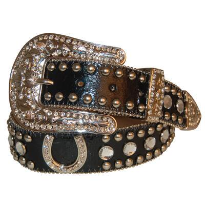 Black Crackle Rhinestone Horseshoe Ladies Belt