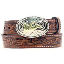 Brown Leather Boys Belt with Bull Rider Buckle