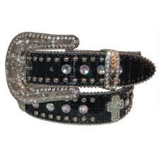 Nocona® Black Croc Print With Crosses Girls Belt