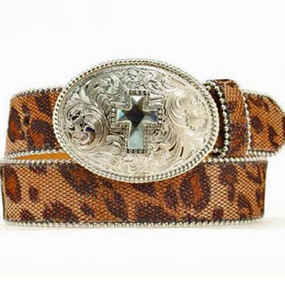 Leopard Print Girls Belt with Rhinestone Cross Buckle