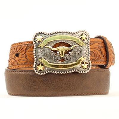 Two Tone Leather Boys Belt with Longhorn Buckle