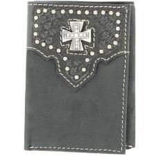 Wallet Trifold Basket Weave Tooled With Cross