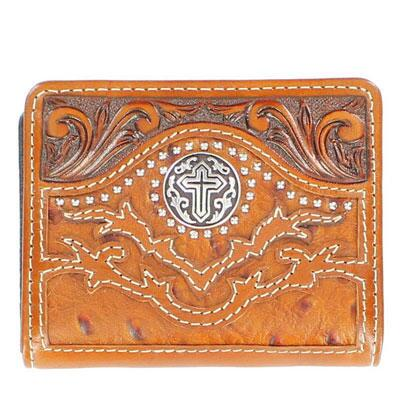 Nocona® BiFold Ostrich Cross Mens Wallet Tan