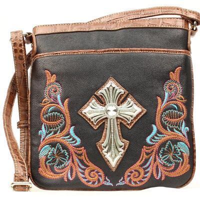 Blazin Roxx® Embroidered Cross Ladies Messenger Bag
