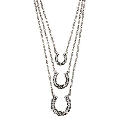 Rock47 Lady Outlaw Triple String Horseshoe Necklace
