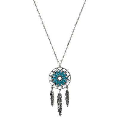 Rock47 Flying Free Blue Dream Catcher Necklace
