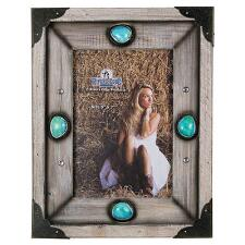 Wood and Turquoise Stone 5 x 7 Picture Frame - TB