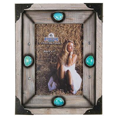 Wood and Turquoise Stone 5 x 7 Picture Frame