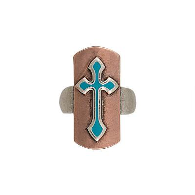 Rock47 Copper Canyon Turquoise Cross Ring