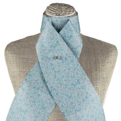Mini Floral Collection Metallic Baby Blue Stock Tie