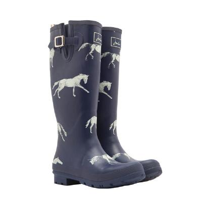 Joules Navy Horse Print Welly Ladies Rubber Boot