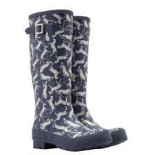 Joules Scribbly Horse Print Ladies Welly