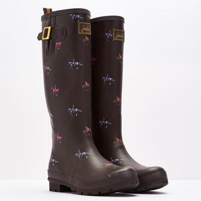 Print Ladies Welly Brown Horse Print