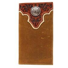 Ariat Mens Lt Brown Leather Wallet with Cognac Tooled Overla - TB