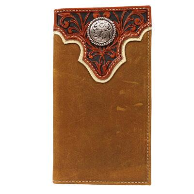 Ariat Mens Lt Brown Leather Wallet with Cognac Tooled Overla