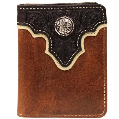 Ariat Bifold Mens Brown Wallet with BlackTooled Overlay