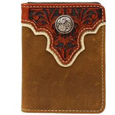 Ariat® Bifold Mens Leather Wallet with Tooled Overlay